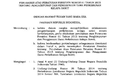 Hasil gambar untuk Pemerintah Revisi Perpres Tentang Penghimpunan dan Penggunaan Dana Kelapa Sawit
